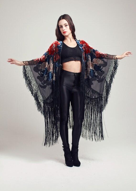 Velvet Fringe Kimono - The Wild Bird