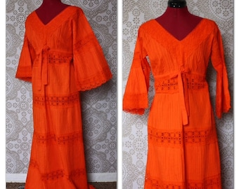 Vintage 1960's 1970's Bright Orange Boho Flower Child Maxi Dress with Lace Panels M/L
