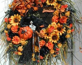 Halloween Wreath Door Wall Decoration Fall Autumn Wreath Black Orange Pumpkin Wreath Broom Raven Crow Wood Sign Grapevine Front Door Wreath