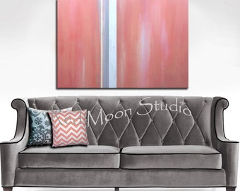 Coral Abstract Painting - Abstract Art - Large 48x36, Original Abstract Art Coral and Grey