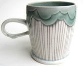 MADE TO ORDER Rain Cloud Porcelain Mug Teal and Red
