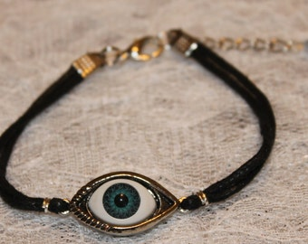 Evil Eye Bracelet Wax Cord Blue Eye Ball Greek