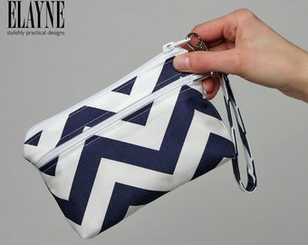 Medium -Chevron Wrist Wallet, Clutch with Removable Strap