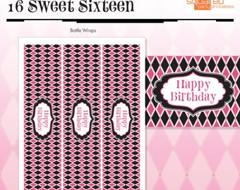 Zebra Happy Birthday - Bottle Wraps, Drink Wraps - Hot Pink - DIY Print - Zebra Print and Hot Pink - Instant Download