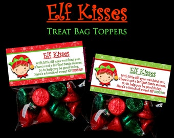 INSTANT DOWNLOAD - Elf Kisses - Treat Bag Toppers - Merry Christmas - Happy Holidays