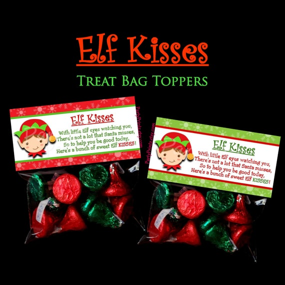 Instant download elf kisses treat bag toppers merry christmas