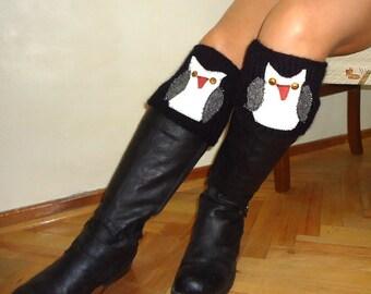 Owl  Knitted Leg Warmer - Knit Boot Toppers - Black Boot Cuffs - Women Leg Warmers - Heart Boot Socks
