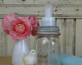 Handmade Ball Jar Foaming Soap Dispenser with Zinc Lid & Orange Ring, in Aqua or Clear