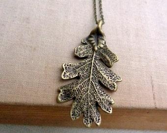 Bronze Leaf Necklace.  Realistic Leaf.