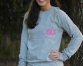 Long Sleeve Monogram Pocket Tees, Greek Letter Embroidery Available