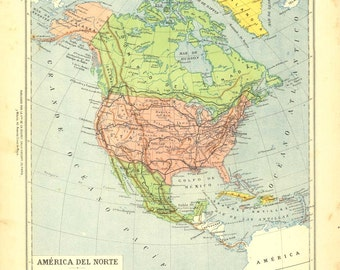 1912 North America Vintage Map, Color Blocking Home Decor, United States, Canada, Mexico