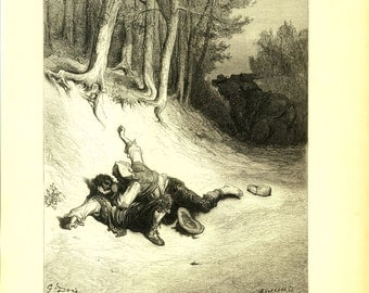 1885 Antique Engraving La Fontaine Fables illustration by Doré, The Thieves and the Ass, Authentic Vintage Print