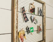 Reclaimed Antique Window Frame with Chicken Wire for Hanging Pictures Perfect for Instagram