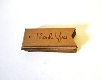 Vintage Inspired Flag Thank You Tags. Kraft Rustic Gift Tags Set of 25. Favor Tags Wedding Shower Birthday Stamped