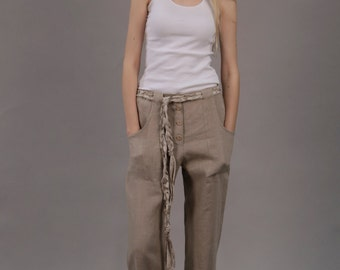 Linen  Trouser For Everyday  Wear/ Casual Linen Trouser/ Linen Pants/ Natural Flax Trouser