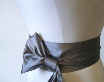 Pewter Silver Gray Dupioni Silk Sash  various way to tie