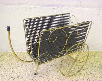 Mid Century French Wagon Magazine Holder Metal Mesh Cart Basket with Wheels - 1950'S Modern wire holder Gold & Black