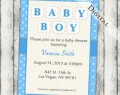 boys baby shower invitations, gender neutral, modern baby shower invitation, baby blocks, digital, printable file, (item164)