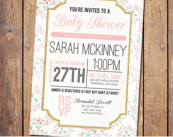 Floral Baby Shower Invitation modern Baby Shower Invitation gender neutral pink and gold baby shower Invites (item347)