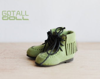20% OFF - GOTALL doll handmade Fringe Short Boots for Blythe doll - doll shoes - Green