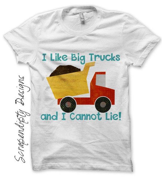 Boys Birthday Iron on Shirt PDF - Dump Truck Iron on Transfer / I Like Big Trucks Shirt / Kids Clothing Tshirt / Funny Kids Clothes IT236-P