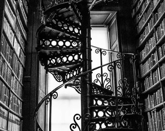 Black and White Spiral Staircase Silhouette Art Print Photography Dublin Trinity College Long Room Industrial Art Home Decor Library Books