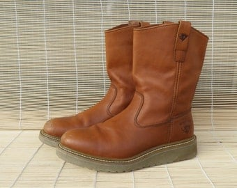 Vintage Man's Tan Light Brown Leather Flat Ankle Boots Herman Survivors Size EUR 42 / US 9