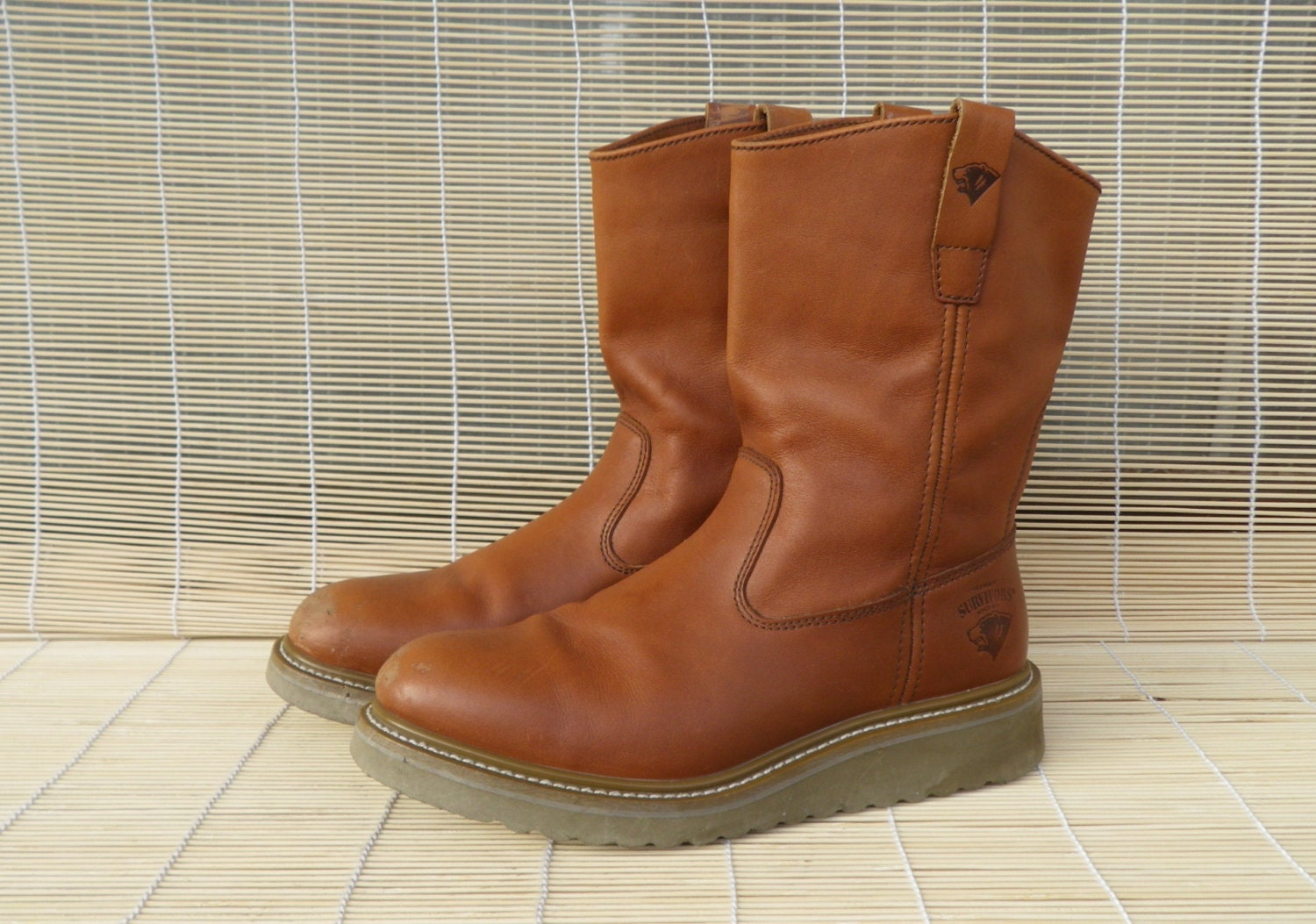 vintage s light brown leather flat ankle boots