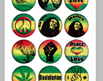 Rasta Bottlecap Images / Marley, Freedom, One Love, Rastafarian, African / Printable Digital Collage 1-Inch Circles / Instant Download