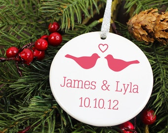 LoveBirds Anniversary Date Christmas Ornament - Personalized Porcelain Couples Holiday Ornament Gift - Newlyweds - orn144 - Custom Colors