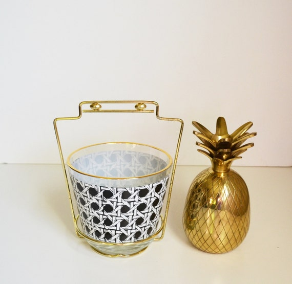Vintage Jeannette Ice Bucket Glass Gold Rimmed Black & White Weaved Basket Ice Bucket and Gold Holder Mid Century Modern Barware