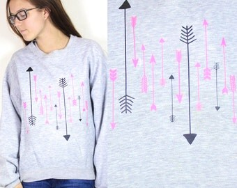 SALE Grey and Neon Pink Raining Arrows Navajo Style Sweatshirt