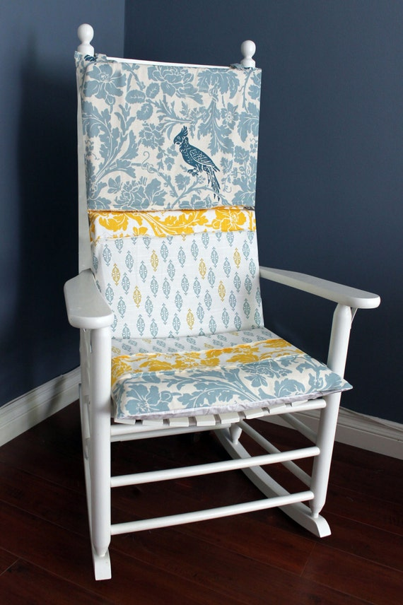 Shabby Chic Rocking Chair Pads : ON SALE Rocking Chair Cushion Blue Bird Shabby Chic