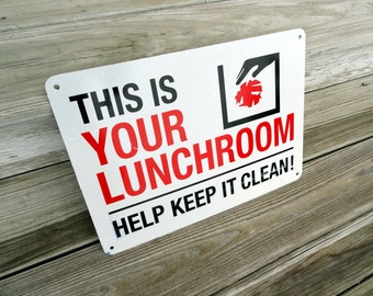 """Vintage Lunchroom Sign  Metal """"Help Keep it Clean"""" Sign Home Decor Wall Hanging"""