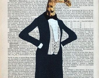 SENATOR GIRAFFE original Art Dictionary Print mixed Media Acrylic Painting Poster Illustration Girrafe art