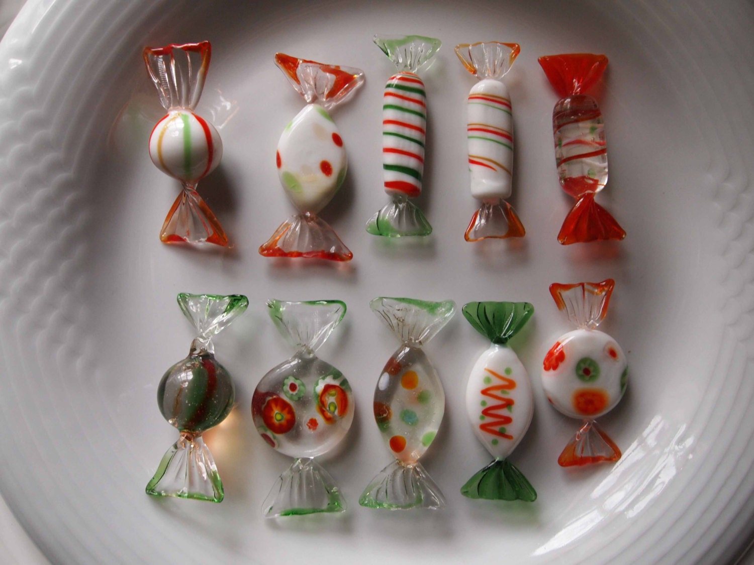 Decorative Art Glass Candy By Lillian Vernon 10 Pieces