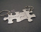 Engagement Gift, Always Forever Keychains for Couples, Wedding Gift, Puzzle Piece Keychain, His Hers Keychain, His Hers Gift, Set of 2