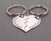 Broken Heart Couple Keychains, Boyfriend Girlfriend Keychains, Personalized Keychains, Couples Gift, Boyfriend Girlfriend Gift, Gift Ideas