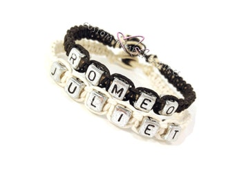 Romeo Juliet Bracelets, Couples bracelets, Boyfriend Girlfriend bracelet, Anniversary Gift, Couples Gift, Black White, Personalized Jewelry
