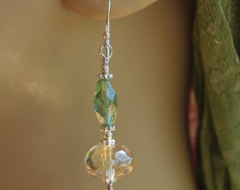 SALE:Czech glass earrings; champagne and green earrings; sterling silver earrings; artisan created earrings; srajd,