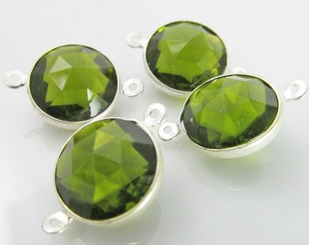 6 Vintage 18x12mm Olive Green Silverplated  Channel Set Faceted Acrylic Connectors Con197
