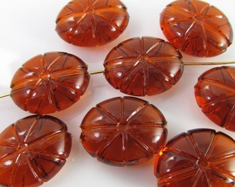 10 Vintage 20mm Amber Topaz Carved Lucite Beads Bd1192