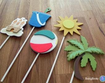 Beach Shape Cake Toppers or Party Decorations sand castle pail sun beach ball palm tree tropical luau