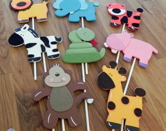 Jungle Animal Shapes - Cake Toppers or Party Decorations monkey giraffe lion elephant tiger zebra snake hippo baby shower birthday party