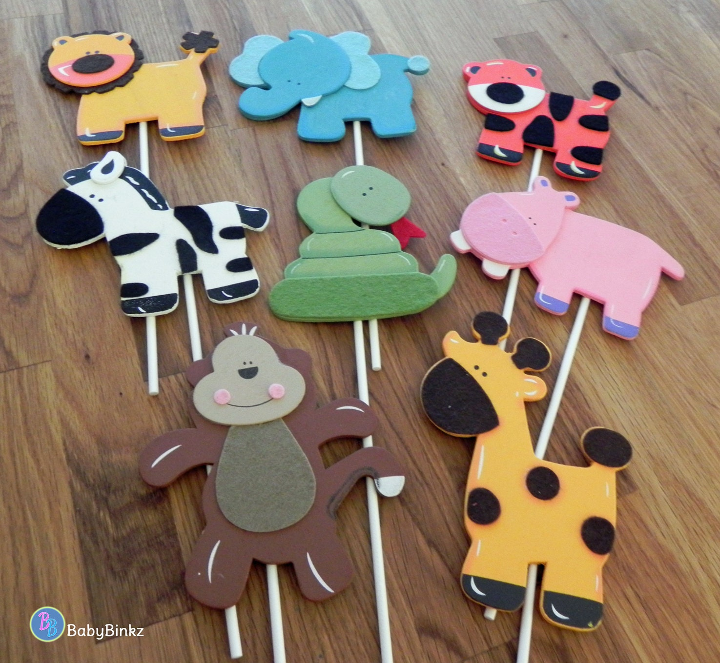 Jungle animal shapes cake toppers or party decorations for Animal decoration ideas