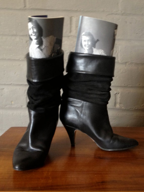 80s scrunch boots vintage 1980s slouch boots black leather and