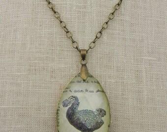 Vintage Chandelier Crystal & antique dictionary page Dodo Bird Necklace