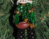Football Players-Chenille & Beaded People Christmas Ornaments-Options: green/gold, red/silver, blue/black, black/white - OldRedBarnProduction