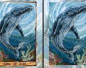 Whale Print, Underwater Art, King of Cups Tarot Card, 8x10 Wall Art, Ocean Artwork, Nautical Decor, Blue and Green, Animism Tarot Deck