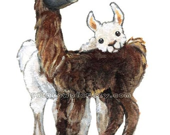 Cute Llama Print, Farm Animal Art, Llama Pair, I Love You, Large Wall Art, Nursery Decor, Kids Room Art, Brown and White, ACEO Art Card